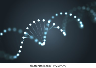Abstract glowing DNA molecules on black background. 3D rendered illustration.