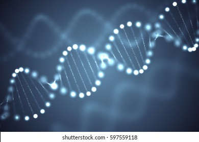 Abstract glowing DNA molecules on dark background. 3D rendered illustration.