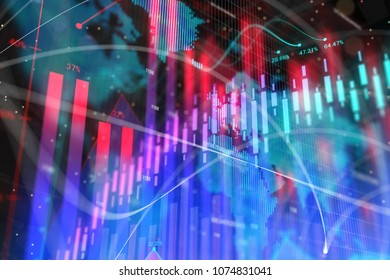 Abstract glowing forex background with map. Global business, trade and investment concept. 3D Rendering