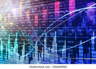 Abstract glowing forex chart background with candlestick. 3D Rendering