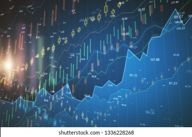 Abstract glowing forex chart wallpaper with elements. Investment and trade concept. 3D Rendering