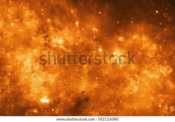 Abstract glowing fractal orange texture. Fantasy digital art. 3D rendering.