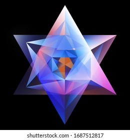 Abstract Glowing Hexagram Isolated On Black Background
