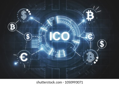 Abstract glowing ICO hologram backdrop. Initial coin offering concept. 3D Rendering