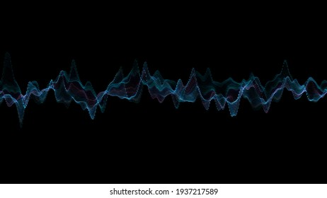 Abstract glowing lines background. Wavy form neon line structure. Futuristic blue color. Technology concept. Global network conncetion. Isolated on black. 3d rendering. Audio equalizer