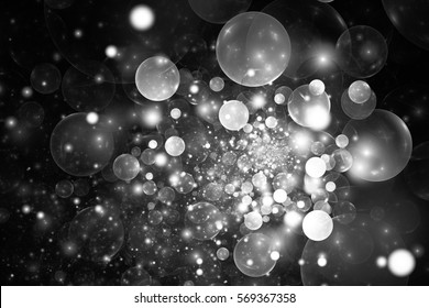 Abstract glowing monochrome bubbles on black background. Fractal art. 3D rendering.