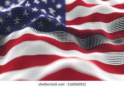 Abstract glowing particle wavy surface with the United States of America flag texture. 3D illustration