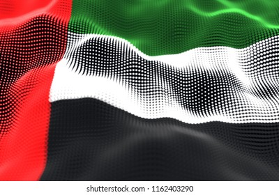 Abstract glowing particle wavy surface with the United Arab Emirates flag texture. 3D illustration