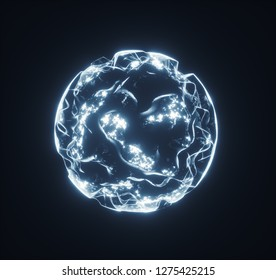 Abstract glowing plasma structure. Infinite energy power background. 3D render