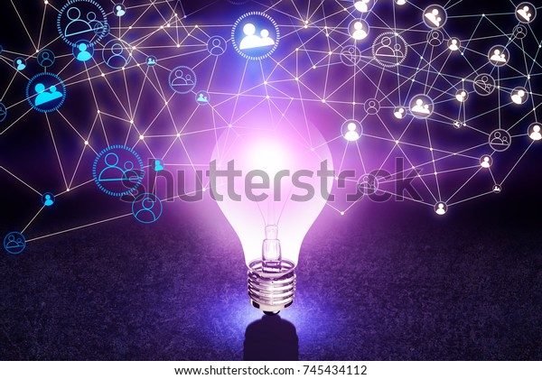 Abstract glowing purple lamp with HR network mesh placed on concrete surface. Human resources concept. 3D Rendering