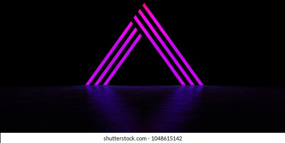 An abstract glowing pyramid consisting of strips in a dark space. Pyramid of purple color. Glowing Triangle. 3D Render
