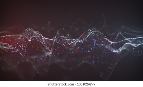 Abstract glowing virtual neural network. Futuristic Infrormation Technology or Artificial Intelligence concept. Computer generated 3D rendering with DOF