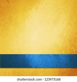 abstract gold background blue ribbon or distressed brochure background, anniversary, baby boy announcement, elegant background gold paper with vintage grunge background texture, luxurious yellow wall