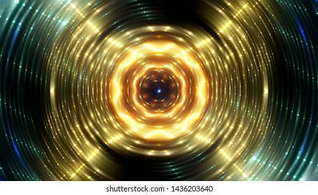 Abstract gold background with scintillating circles and gloss. Brilliant round sphere tunnel. Illustration digital.