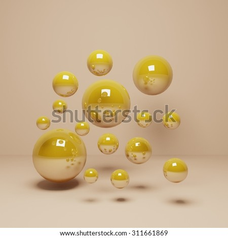 Abstract Gold Balls Golden Background Gold Stock