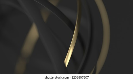 Abstract gold and black background with circles. 3d render illustration