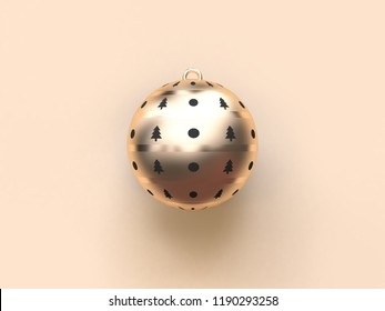abstract gold black christmas ball 3d rendering