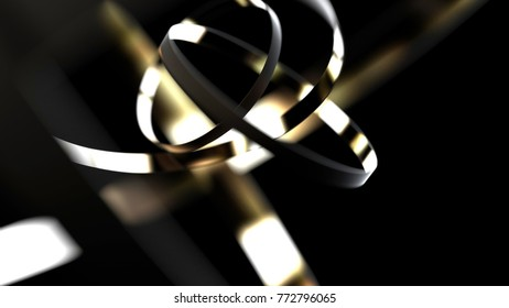 Abstract gold and black conception, 3d illustration