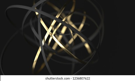 Abstract gold and black motion rings on black background. 3d render illustration