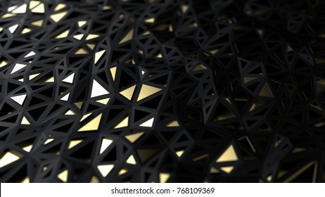 Abstract gold and black polygonal background, luxury conception, 3d illustration