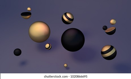 Abstract gold and black stripes spheres. 3d rendering picture.
