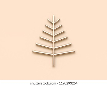 abstract gold christmas tree 3d rendering