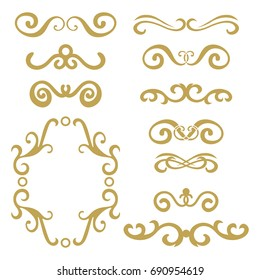Abstract  gold curly design element set isolated on white background. Dividers in retro style. Hand drawn swirls.