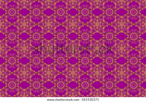 Abstract gold geometric modern design on a purple background. Texture of gold foil. Raster shiny backdrop. Gold circles seamless pattern. Art deco style.