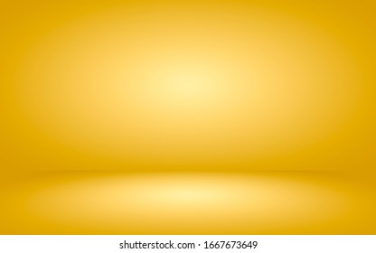 Abstract gold gradient spotlight room texture background.  Studio backdrop wallpaper light room wall color yellow and empty space.