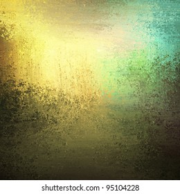 abstract gold and green background art with soft faded vintage grunge texture and smeary watercolor or oil paint illustration with vague hint at landscape sky and trees