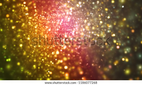 Abstract gold and pink sparkling background. Beautiful lights with ombre effect. Digital fractal art. 3d rendering.