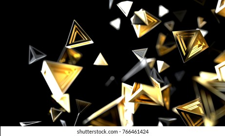 Abstract gold polygonal particles isolated on black background, 3d illustration
