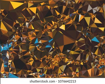 Abstract gold polygonal texture background. Geometric marble pattern for graphic design. Can be used as print or wallpaper. Swirl trangle futuristic artwork.