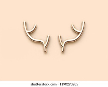 abstract gold rein deer horn 3d rendering christmas concept