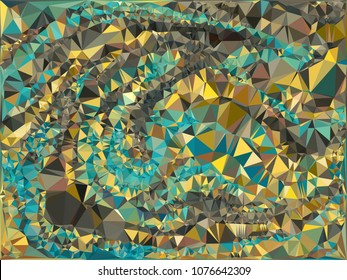 Abstract gold and turquoise polygonal texture background. Geometric marble pattern for graphic design. Can be used as print or wallpaper. Swirl trangle futuristic artwork.