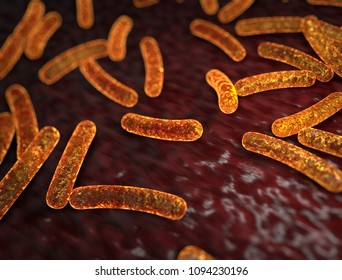 Abstract Gold Yellow Bacteria Medical Background. 3D Rendering. Scientific Illustration.