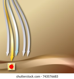 Abstract golden background with arrows showing down