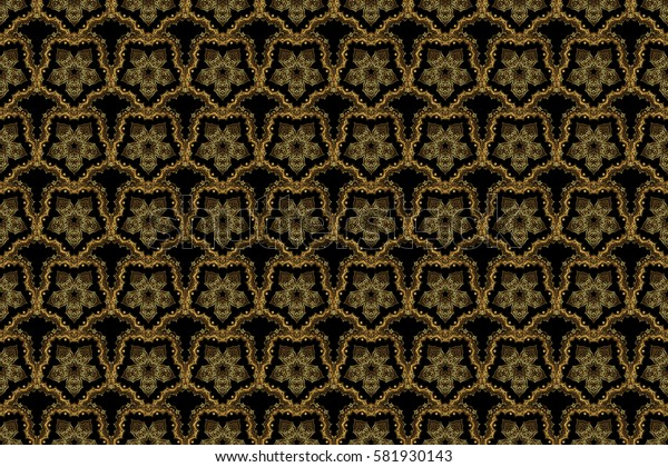 Abstract golden background in black and golden colors for invitation template. Raster golden seamless pattern.