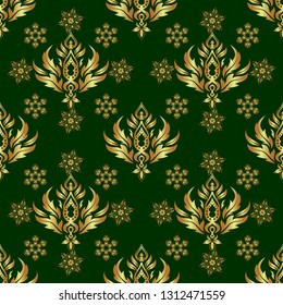 Abstract golden background in green and golden colors for invitation template. Golden seamless pattern.