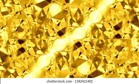 Abstract golden background kaleidoscope with spheres and splinters of gold. A template with iridescent pieces of glass. Beautiful pattern with bright yellow color. A modern texture for jewelers.
