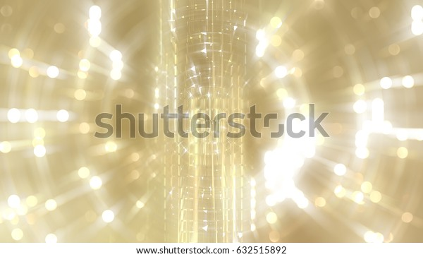 abstract golden background with scintillating circles and gloss. illustration beautiful.