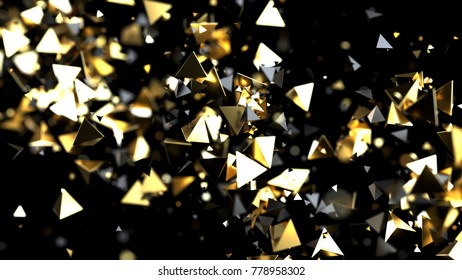 Abstract golden and black pyramid particles isolated on black, 3d illustration