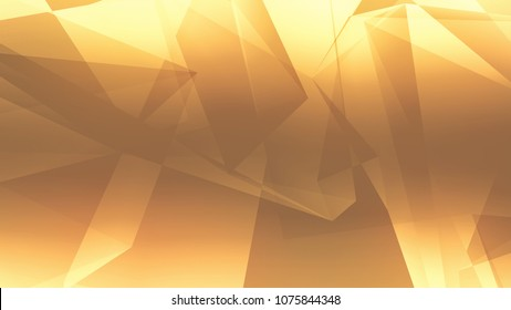 Abstract golden brown gradient polygon triangle pattern background and Textures. 3d render illustration.