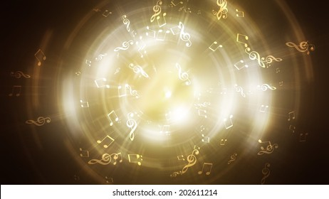 Abstract golden disk. bright fires. music notes
