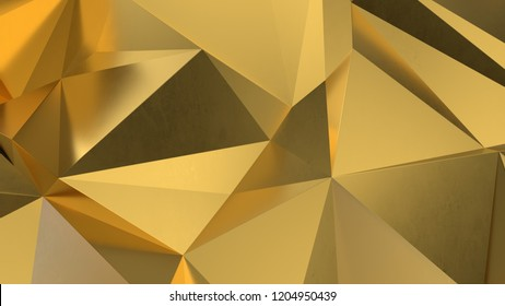 abstract golden geometric crystals. Minimal quartz, stone, gems. Low poly background. 3d render