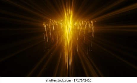 Abstract golden glowing light streak particle of the Holy Cross over black background.