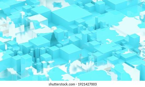 Abstract golden liquid on blue sky box. Art data technology concept. 3d rendering
