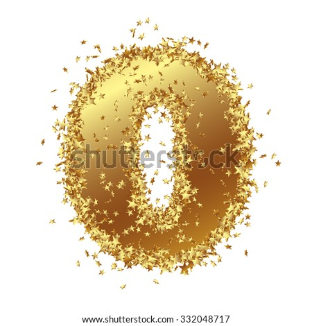 abstract golden number with starlet border zero null 0 birthday party
