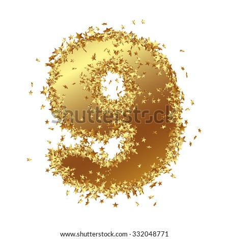 abstract golden number with starlet border nine 9 birthday party new