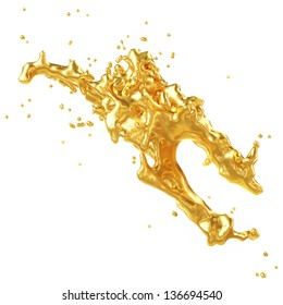 Abstract Golden Shape, Melt Gold Isolated on White background